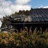 屋根の瓦が大雪で破損、修理。