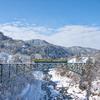 冬のアーチ橋:富山地鉄・千垣橋梁