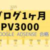 ブログ1ヶ月 PV3000とGoogle AdSense合格まで