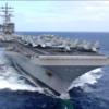 南シナ海中国海軍の大規模演習地域へ哨戒出動する空母ロナルドレーガン