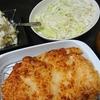 チキンカツ、ポテトサラダ、味噌汁