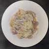 ホットクック 失敗レシピ 無水パスタコースで加水して作った 白だしキャベツ豚肉和風パスタ