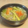 五穀米レシピ#17 もち麦とアスパラの和風コンソメスープ(ダイシモチ使用)