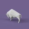 アメリカバイソンのローポリゴン調ペーパークラフト無料型紙 Free papercraft template of Bison bison