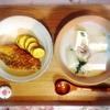 サーモンフライ、さつまいも、豆乳鍋、柿