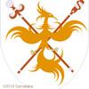 火の鳥の紋章。杖を持たせてみる。