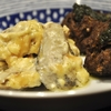 豊洲の「米花」で牡蠣のマヨ焼き、鰯つみれ団子、鶏レバーしょうが煮、キノコのお吸物、鶏モモ焼き。