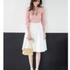 ユニクロ&ジーユーで春服投入。コットンカシミヤワイドリブセーターと、ヘムフレアスカート。