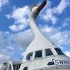 山中湖スワン型の遊覧船は犬も乗船可能です