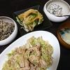 キャベツ豚炒め、白和え、卯の花、味噌汁
