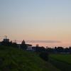 夕焼け空と笠を冠った鳥海山