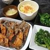 さんまの竜田揚げ、白菜漬物、春菊ごま和え、味噌汁