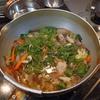 幸運な病のレシピ( 1693 )夜 :カボチャの炒め煮(ひき肉インゲン)、手のひらピザ、汁の仕立直し