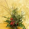 百均のオアシスでお正月飾りのアレンジメントを作る
