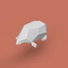 モグラのローポリゴン調ペーパークラフト(無料型紙) low-poly Mole paper craft template