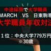 転職した大学職員の給与・年収対決!|MARCH(明青立法中) VS 日東駒専の大学職員年収対決!
