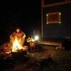 オルテガボードと焚き火。
