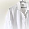 白いシャツが完成。カフスの縫い方2通りの1つ目。
