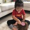朝は忙しい娘(3歳9カ月)