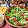 グレパラリーフと6種の野菜サラダと日清中華街のから揚げ粉でサクサク唐揚げパーティー