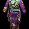 本日入荷!紫地花の丸縮緬小紋×緑色地オウムと松刺繍名古屋帯