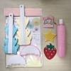 【メルカリ日記】あまりものをセットにして販売。イチゴと星と、サンリオのワッペン、セリアのペーパーファン・ハニカムボールセット、新品のチューブ糊。