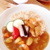 夏野菜カレー(自家製米粉ルー)♫玄米アイスクリーム(乳製品不使用)とまと味♫