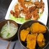 チキンカツ、かぼちゃの煮物、味噌汁
