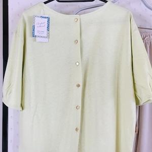 夏服の袖冷房対策にバルーンカーディガンとライムイエローカットソー買い。