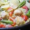 夏野菜と鶏のパエリア、へべすかけ