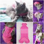 シニア猫のための手作り術後服|綿混素材の糸で手編みニット