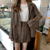【韓国ファッション】レディース セットアップ ジャケット + スカート チェック柄