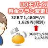 UQモバイルの新料金プラン(3GB/1480円)へ変更してみました