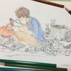 塗り絵 きのこ研究 途中
