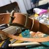 少し細身な革製ベルト作製!