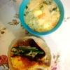 ほうれん草シチュー、鱈ソテー、茄子ピーマン豚肉、玉子焼き