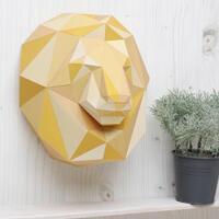 ライオンの頭のペーパークラフト free lion head papercraft template