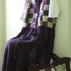 紫パッチのジレとバッグ