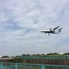 頭上を飛行機が通過する千里川土手(堤防)は伊丹空港離着陸の撮影スポット!【大阪府豊中市】
