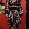 紫矢羽根に花小紋×黒繻子地枇杷と小鳥名古屋帯