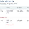 8月にニューヨークへ行く航空券の予約。フライトの最終目的地はフィラデルフィア