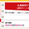 【ハピタス】三菱東京UFJ-JCBデビットで4,800pt(4,800円)! さらに最大1,500円もれなくプレゼントも♪