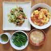 塩サバとキャベツのカレー風味炒め。ふんわり卵とトマトの炒め物。