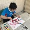 絵画教室、トントントンと力強い作品ができました。