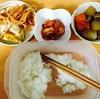 大根人参鶏肉椎茸の煮物、キムチ、スパゲッティ、スパオム