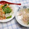 夕食:焼き飯とスープ