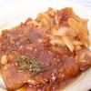 マーマレードとお醤油のソースで、甘辛豚焼き