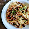 水菜ときのこの明太子スパゲッティ