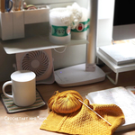 hime*himaの作業デスク|ほぼ日手帳に描いた編み図でトートバッグ進めています