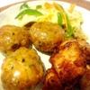 レンコン鶏ハンバーグ、唐揚げ、野菜炒め、厚揚げと人参